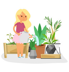 Girl watering plants at greenhouse or home garden vector
