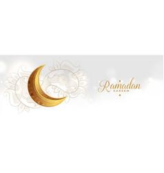 Golden eid festival moon with paisley decoration vector