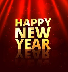 golden happy new year in red background vector image