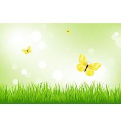 Green Grass And Yellow Butterflies vector