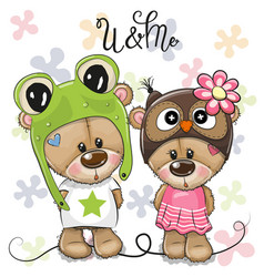 greeting card bears boy and girl on a flowers vector image