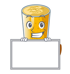 Grinning with board lassi mango in a cartoon glass vector