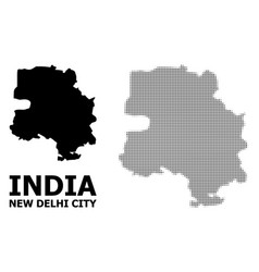 Halftone pattern and solid map new delhi vector