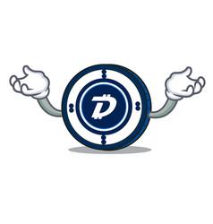 Hand up digibyte coin character cartoon vector