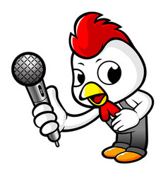Happy rooster character holding a microphone vector