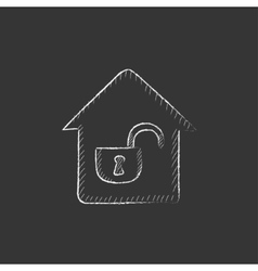 House with open lock Drawn in chalk icon vector