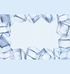 Ice cubes frame chill border icy cold cube and vector