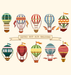 Icons of vintage hot air balloons with flags vector