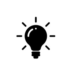 idea bulb light icon lamp bulb black silhouette vector image
