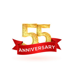isolated golden fifty-five birthday numbers with vector image