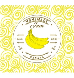 Jam label design template for banana dessert vector