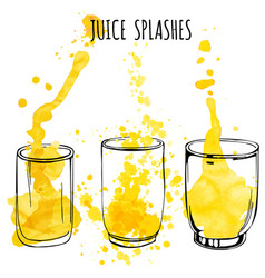 Juice splashes in glasses hand draw vector
