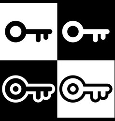 keys icons logos simple black and white set vector image