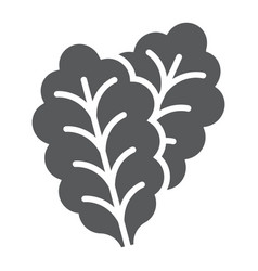 Leaf lettuce glyph icon vegetable and diet vector