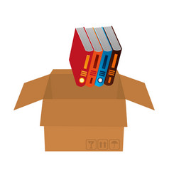 library pile books in carton box vector image