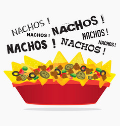 Loaded cheese nacho with meat and jalapeno vector