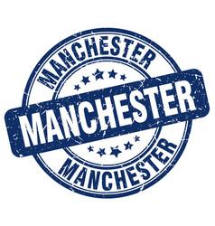 Manchester blue grunge round vintage rubber stamp vector