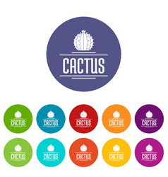 nature cactus icons set color vector image