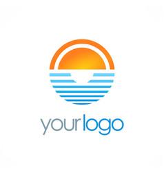 ocean horizon sun logo vector image