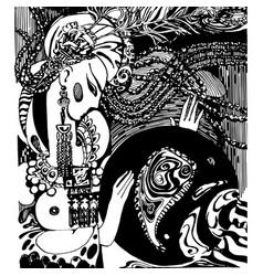 Oriental motifs handmade vector