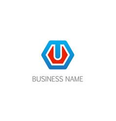 polygon emblem company logo vector image