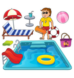 Pool thematic set 1 vector