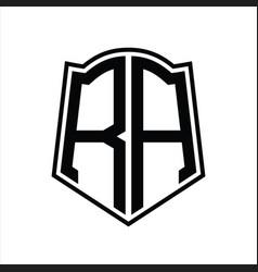 Ra logo monogram with shield shape outline design vector