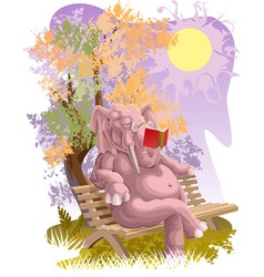 Reading elephant vector image
