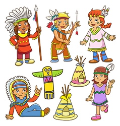 red indian cartoon vector image
