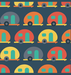 Retro camper van seamless pattern backdrop vector