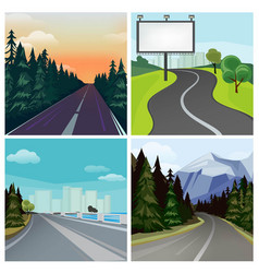 Road to town outside highway street scenic vector