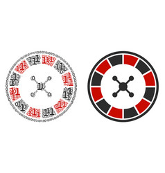 Roulette mosaic of binary digits vector