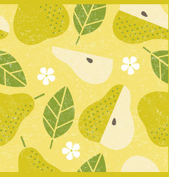Seamless pattern pear leaves fruits flowers vector