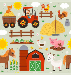 seamless pattern with farmer riding a tractor vector image