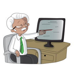 Senior man pointing at monitor screen vector