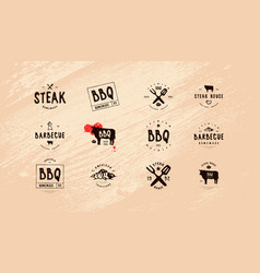 set barbecue label and emblem vector image