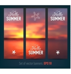 Set of banners with sunset background vector image