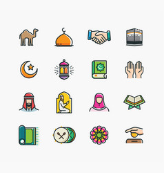 Set of islamic icons vector