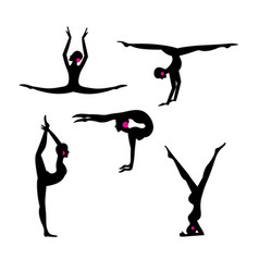 set silhouettes gymnasts on a white vector image