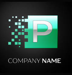 silver letter p logo symbol in the green square vector image