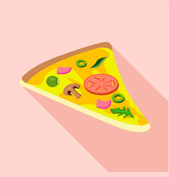 Slice of pizza with mushroomssausage olives icon vector