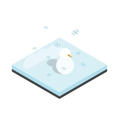 Snowman and winter landscape icon vector image