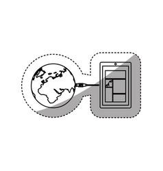 sticker silhouette smartphone global hosting vector image