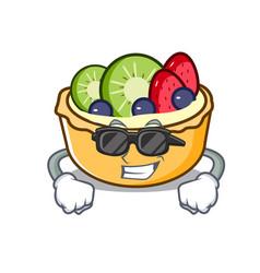 super cool fruit tart character cartoon vector image