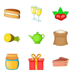 sweet life icons set cartoon style vector image