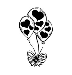 Three air ballooons with hearts silhouettes print vector