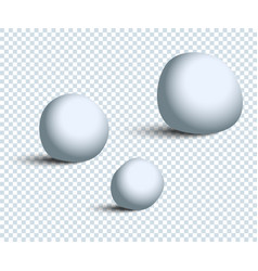 Three white realistic snowballs with shadow on vector