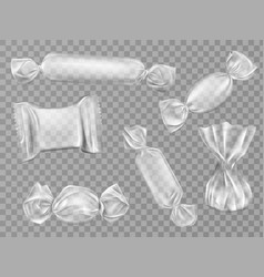 Transparent candy wrappers set isolated clip art vector