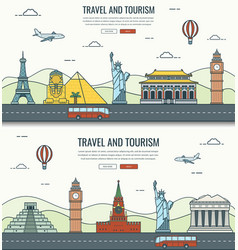 Travel composition with world landmarks and travel vector