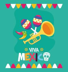 Trumpet and maracas celebration viva mexico vector